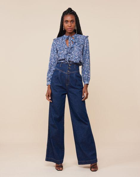 Amaro Feminino Calça Jeans Wide Cós Diferenciado, Azul