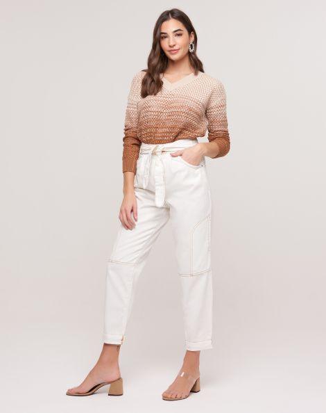 Amaro Feminino Calça Jeans Slim Amarração E Barra Dobrada, Branco