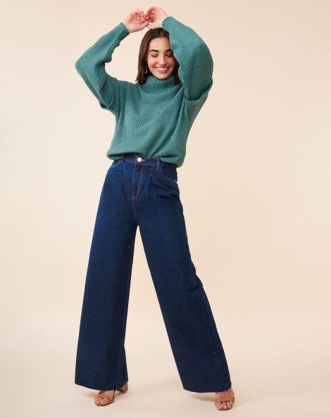 Amaro Feminino Calça Jeans Wide Pregas, Azul