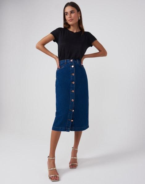 Amaro Feminino Saia Jeans Botões Frente, Azul