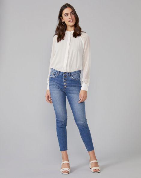 Amaro Feminino Calça Jeans Skinny Botões Frente, Azul