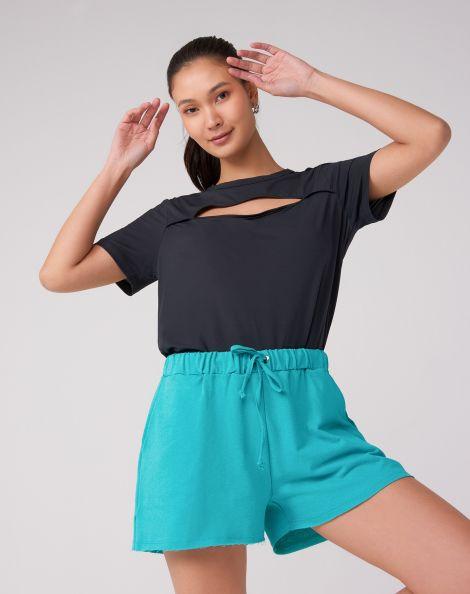 Amaro Feminino Shorts Moletom Sem Flanela, Azul