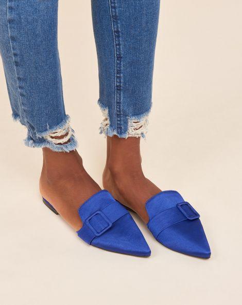 Amaro Feminino Sapatilha Mule Fivela Forrada, Azul
