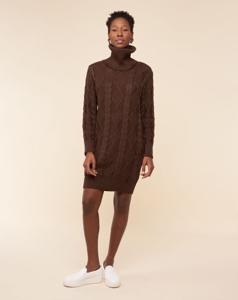 Amaro Feminino Vestido Suéter Curto Com Gola, Marrom