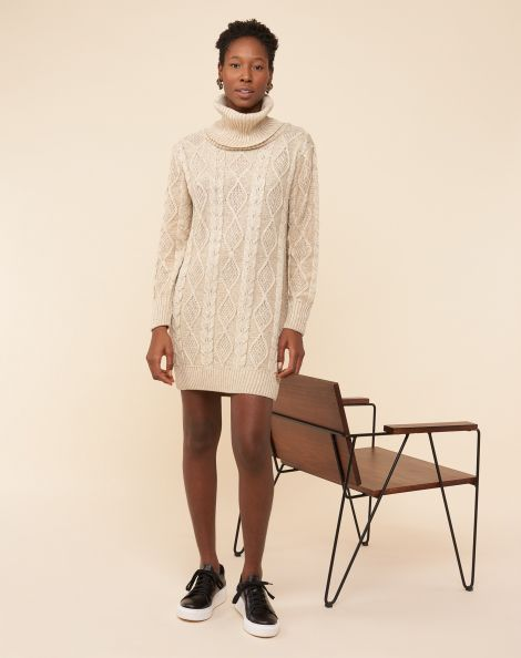 Amaro Feminino Vestido Suéter Curto Com Gola, Bege