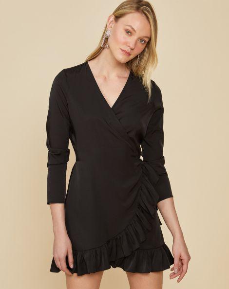 Amaro Feminino Vestido Curto Transpassado Amarração, Preto