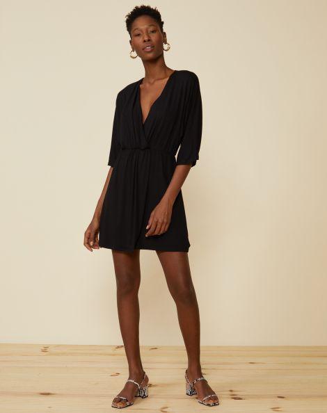 Amaro Feminino Vestido Curto Com Torcido Frontal, Preto