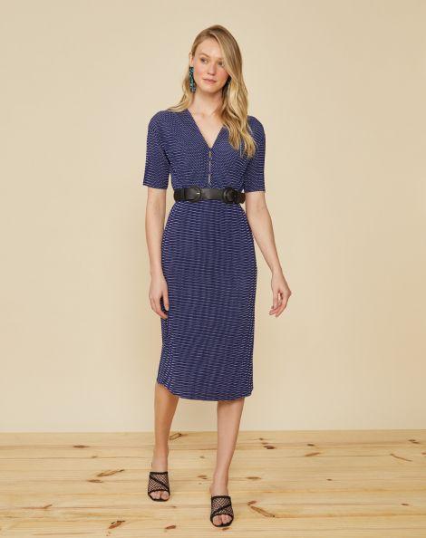 Amaro Feminino Vestido Midi Plissado Com Botões, Azul