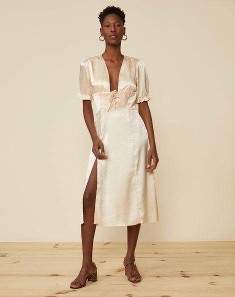 Amaro Feminino Vestido Midi Decote Com Amarração, Branco