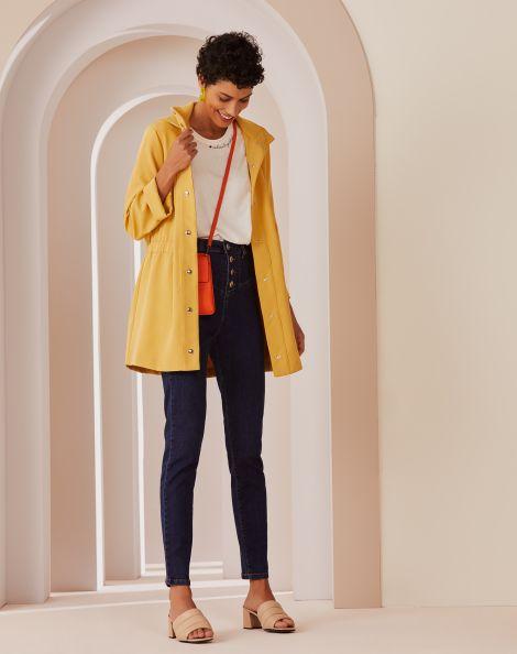 Amaro Feminino Calça Jeans Skinny Recortes Frente, Azul