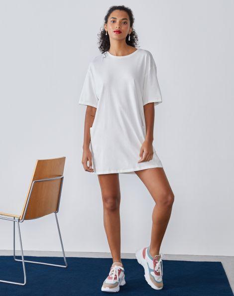 Amaro Feminino Vestido Curto Comfy Camiseta Com Bolsos, Branco