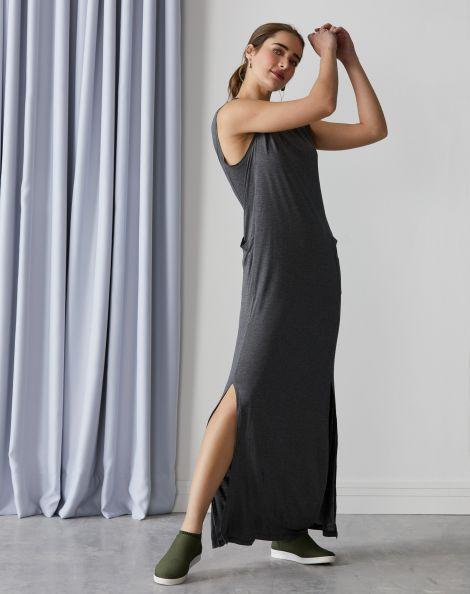 Amaro Feminino Vestido Longo Comfy Com Bolsos E Fenda, Preto