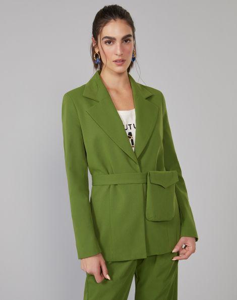 Amaro Feminino Blazer Alfaiataria Bolso E Cinto Removível, Verde
