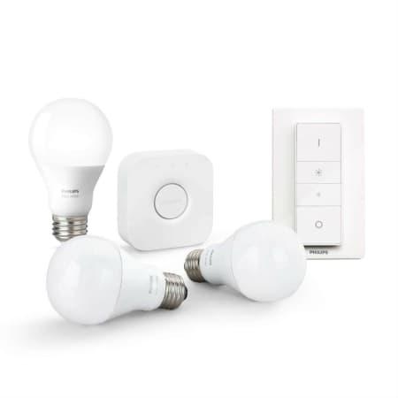 Philips Hue White Starter Kit E27 - 3 Lampen, Bridge + Dimmschalter - Weiß
