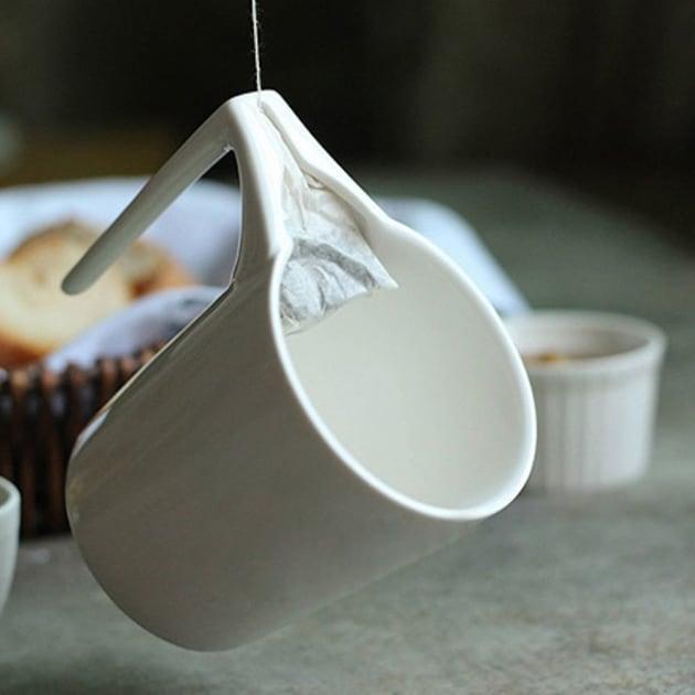 2 x Porzellan-Teetasse mit Teebeutelhalter