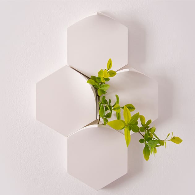 Sechseckige modulare Wandvase, handmade