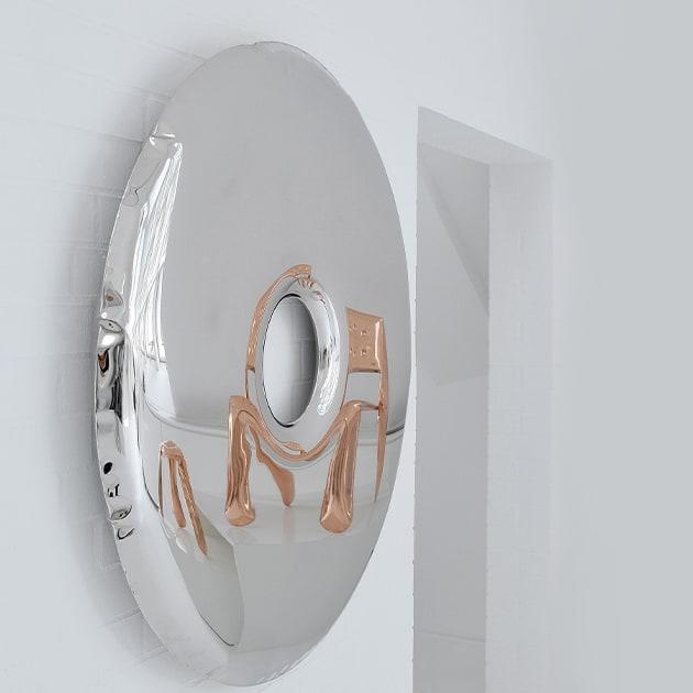 Rondo Spiegel von Zieta aus poliertem Edelstahl