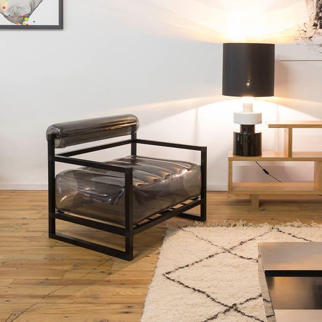 MOJOW YOKO, aufblasbarer Sessel im Metallrahmen für Innen und Außen