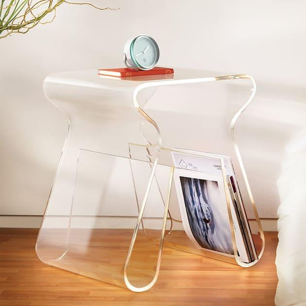 Magino – transparenter Hocker und Zeitschriftensammler
