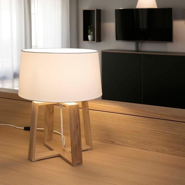 Designleuchte Bliss von Faro Barcelona aus Textil und Holz