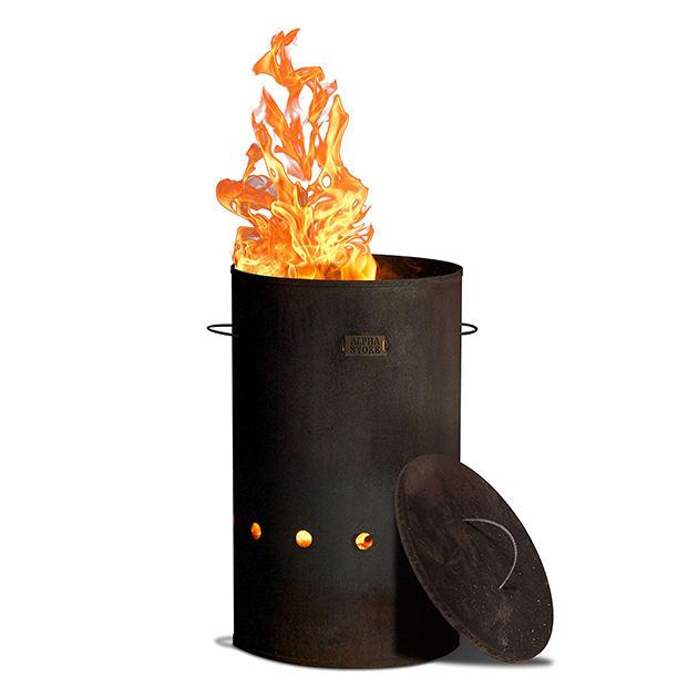 Industrielle Feuertonne aus Cortenstahl für draußen