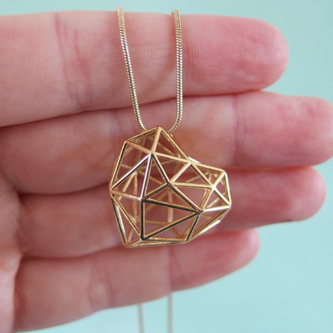 3D Druck Herz Anhänger – Gold Stahl