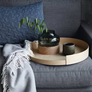 Glasvase mit Holzbasis von Fritz Hansen