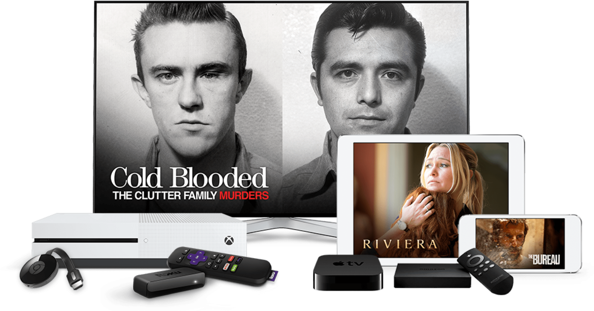 Available on Apple App Store, Amazon Fire TV, Roku, Google Play, and Xbox One.