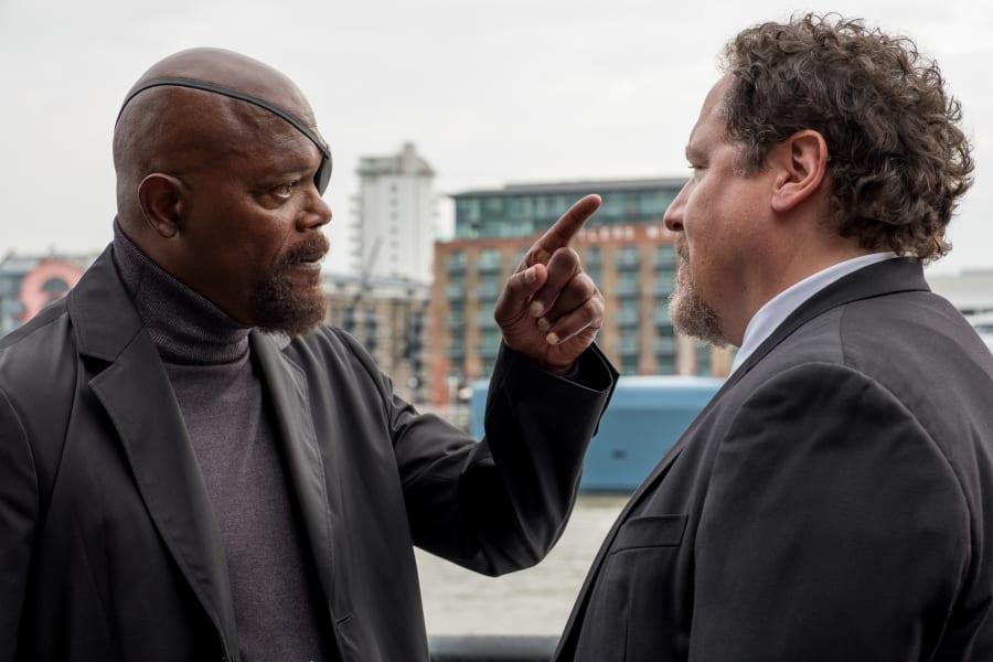 Nick Fury and Happy Hogan in Spider-Man Far From Home
