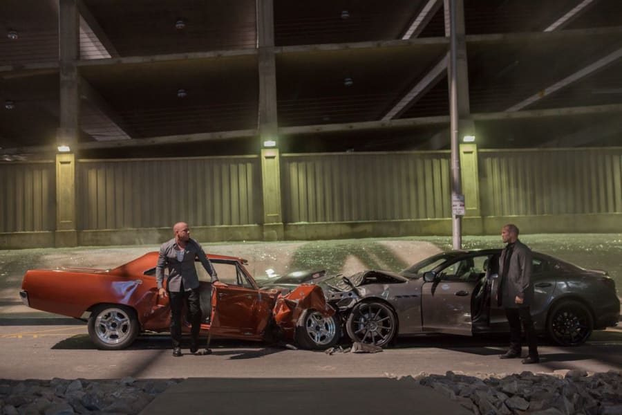 Shaw and Dom crash cars in Furious 7
