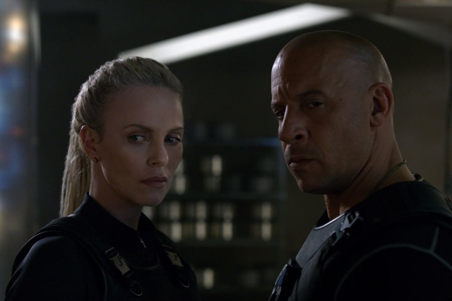 Vin Diesel and Charlize Theron in Fate of the Furious