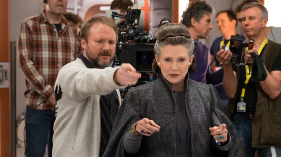Rian Johnson with Carrie Fisher making The Last Jedi