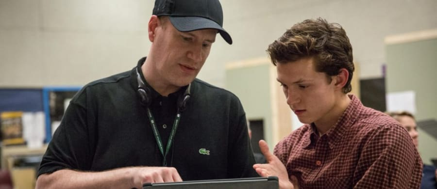 Kevin Feige and Tom Holland