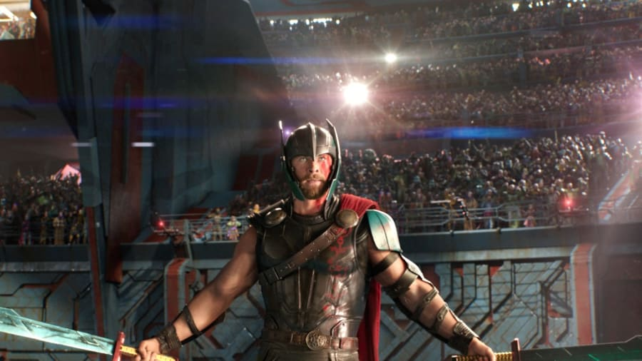 Thor with swords in Thor Ragnarok