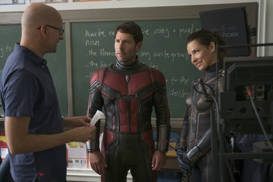 Peyton Reed Paul Rudd Evangeline Lilly on the Ant-Man and the Wasp set