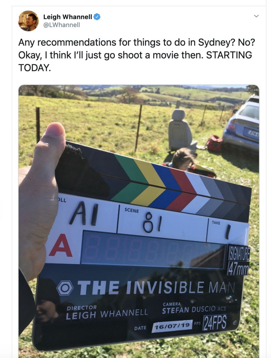 The Invisible Man Starts Filming With New Image