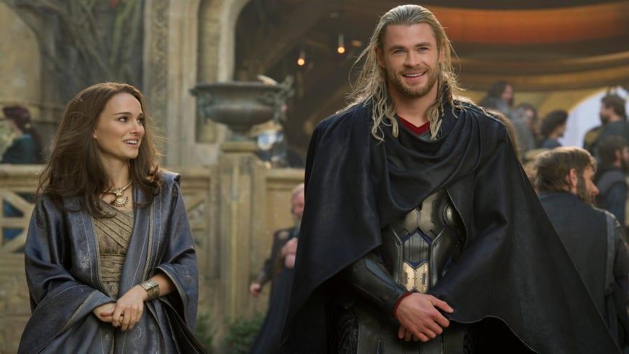 Natalie Portman and Chris Hemsworth in Thor The Dark World