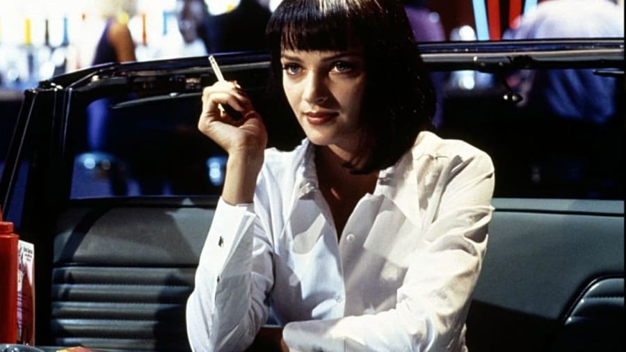 Mia Wallace (Uma Thurman) smoking a cigarette in Pulp Fiction