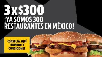 3 x $300 Así Celebramos 300 Restaurantes en México.
