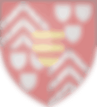 blason de la famille Carné-Trécesson de Coëtlogon : Écartelé aux 1 et 4 de gueules à trois chevrons d'hermine, qui est de Trécesson, aux 2 et 3 de gueules à trois écussons d'hermine, qui est de Coëtlogon, sur le tout d'or à deux fasces de gueules, qui est de Carné