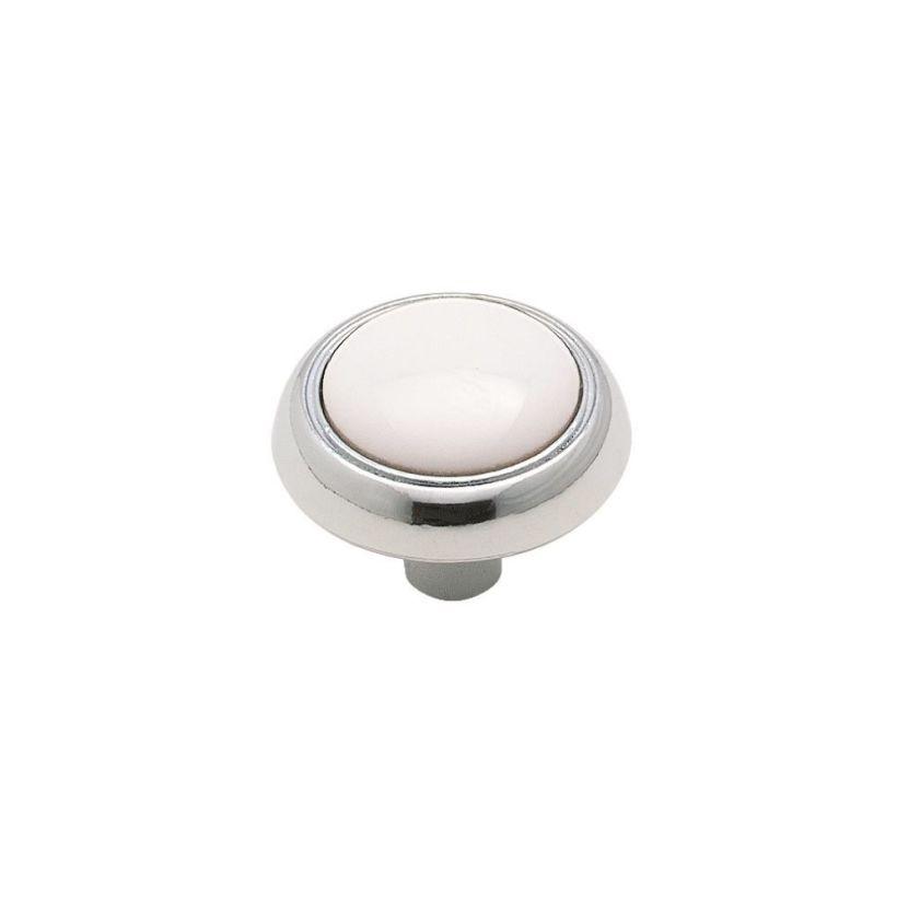 "Allison™ Value 1-3/16"" (30mm) Diameter Knob - White & Polished Chrome"