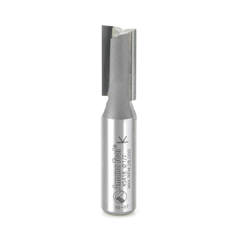 Amana Tool 1/2 in Shank 2 Flute Carbide High Production Straight Plunge Router Bit, 1/2 in x 2-5/8 in