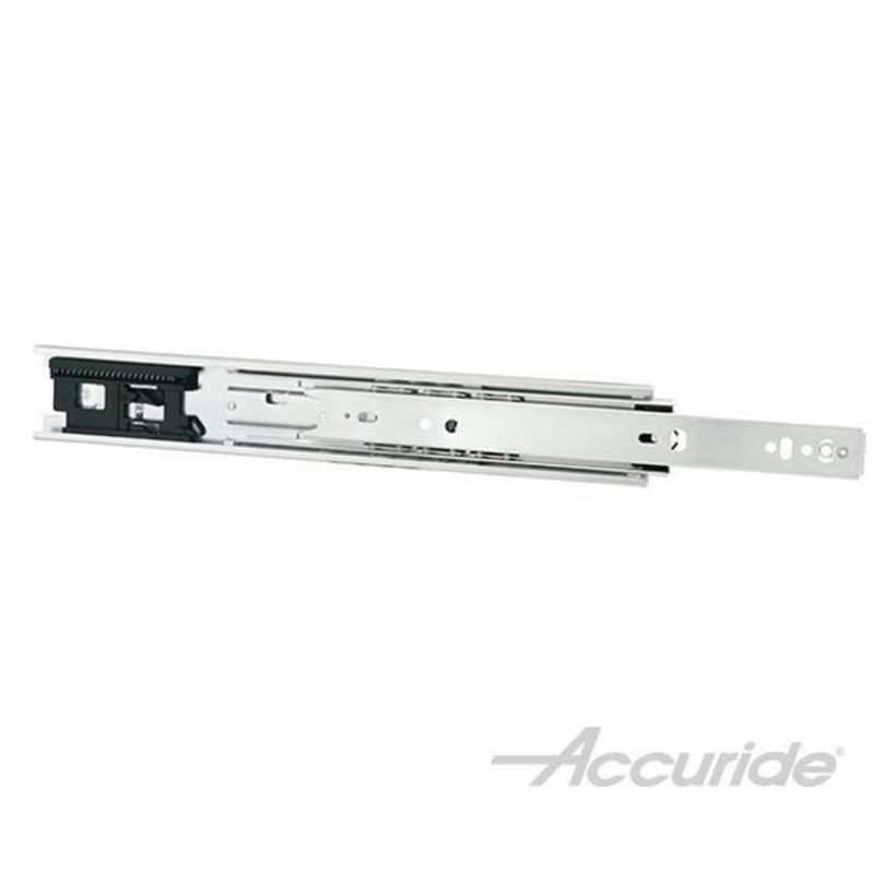 Accuride 3832ETR 100 lb Light-Duty Full Extension and Enhanced Touch-Release Slide, Clear Zinc - Polybag