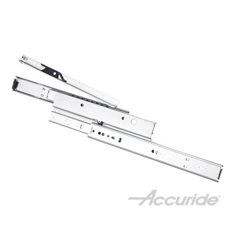 Accuride 4033 100 lb Light-Duty Full Extension and Ultra Quiet Slide, Clear Zinc