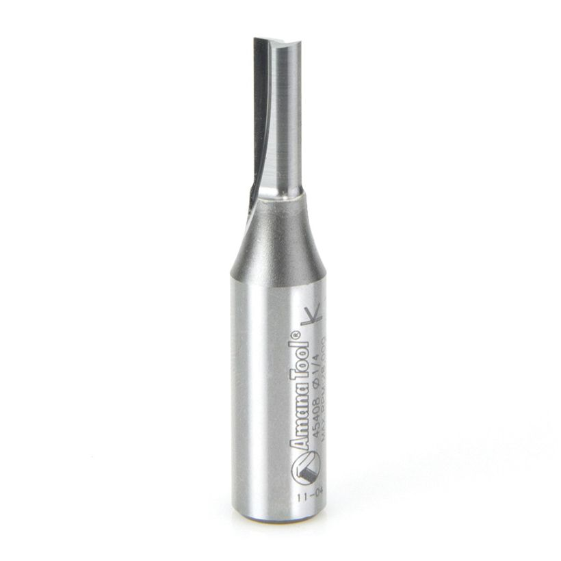 Amana Tool 1/2 in Shank 2 Flute Solid Carbide/Steel Shank High Production Straight Plunge Router Bit, 1/4 in x 2-1/2 in