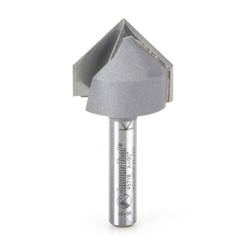 Amana Tool 1/4 in Shank 2 Flute Carbide V-Groove Router Bit, 7/8 in x 1-7/8 in