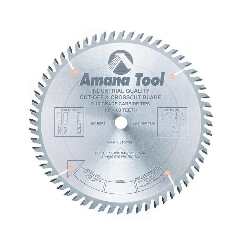 Amana Tool Cut-Off and Crosscut Circular Saw Blade, 10 in x 60T