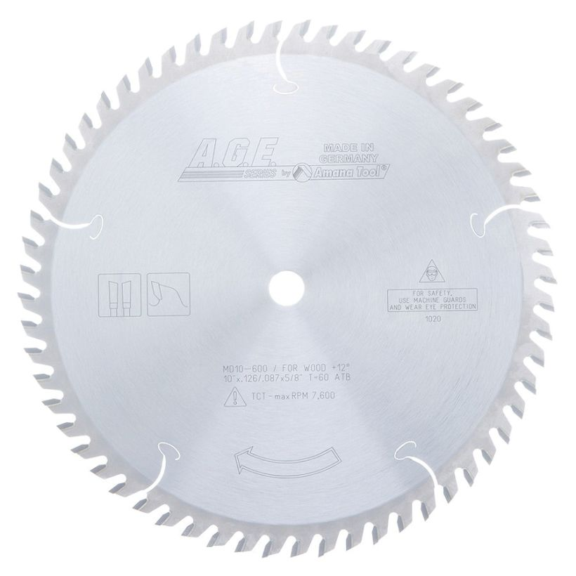 Amana Tool A.G.E. Saw Blades Cut-Off and Crosscut Circular Saw Blade, 10 in x 60T