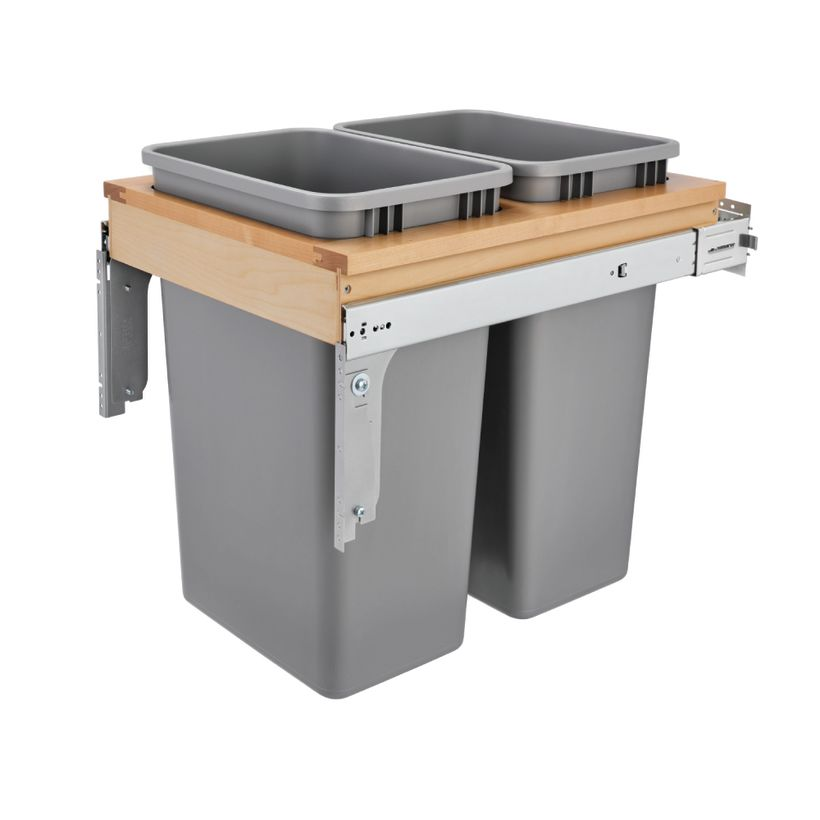 """4WCTM-BBSC Series Double Soft-Close Top Mount 1-1/2"""" Face Frame Wood Waste Container"""