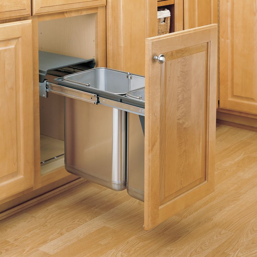 8-785 Series Stainless Steel Under Sink Mount Waste Container Pull-Out With Door Mountable Frame